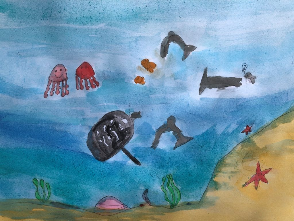 Watercolours on paper (Aubrea 7 years old)