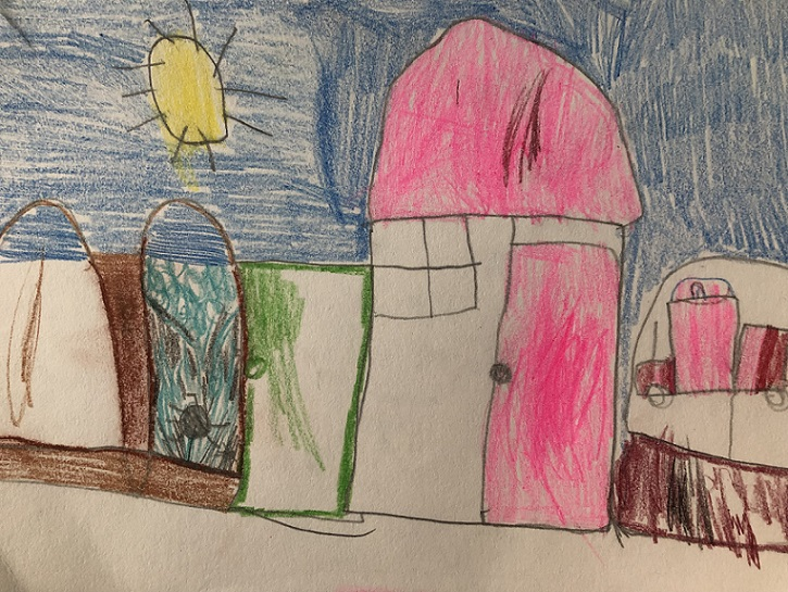 Pencil crayons on paper (Aiden 5 years old)