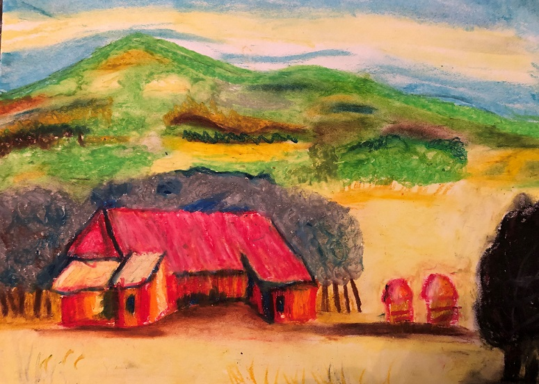 Very colourful picture of red barn with some trees behind and small hills in the background with colourful spring vegetation and small forest.
