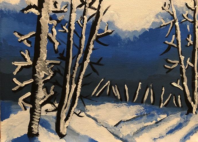 Acrylic paints on the canvas (Nova 6 years old)