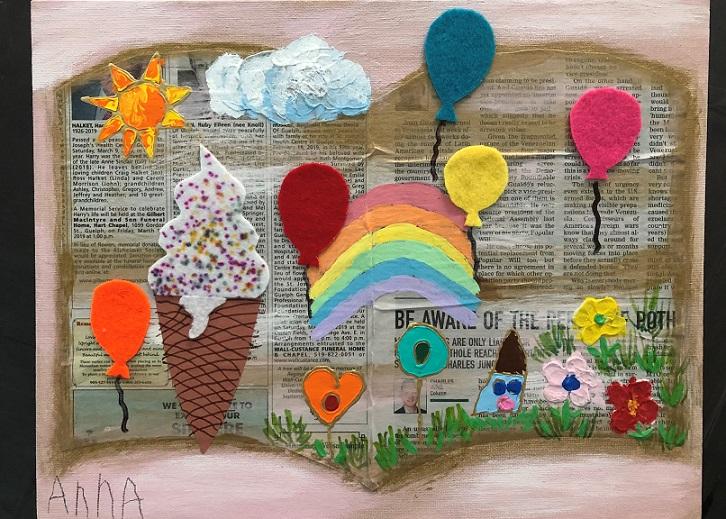 Acrylic paint on canvas (Anna 4 years old)