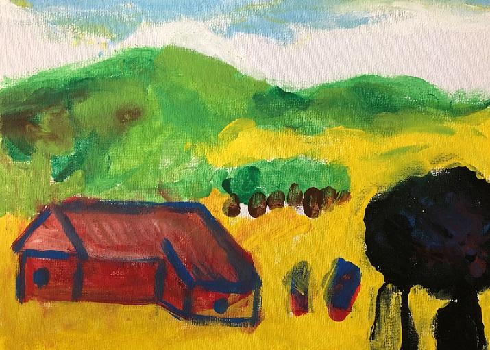 Acrylic paint on canvas (Aidan 5 years old)