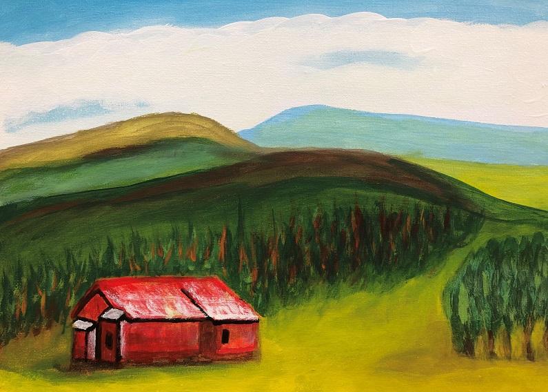 Acrylic paint on canvas (Ron Worth)