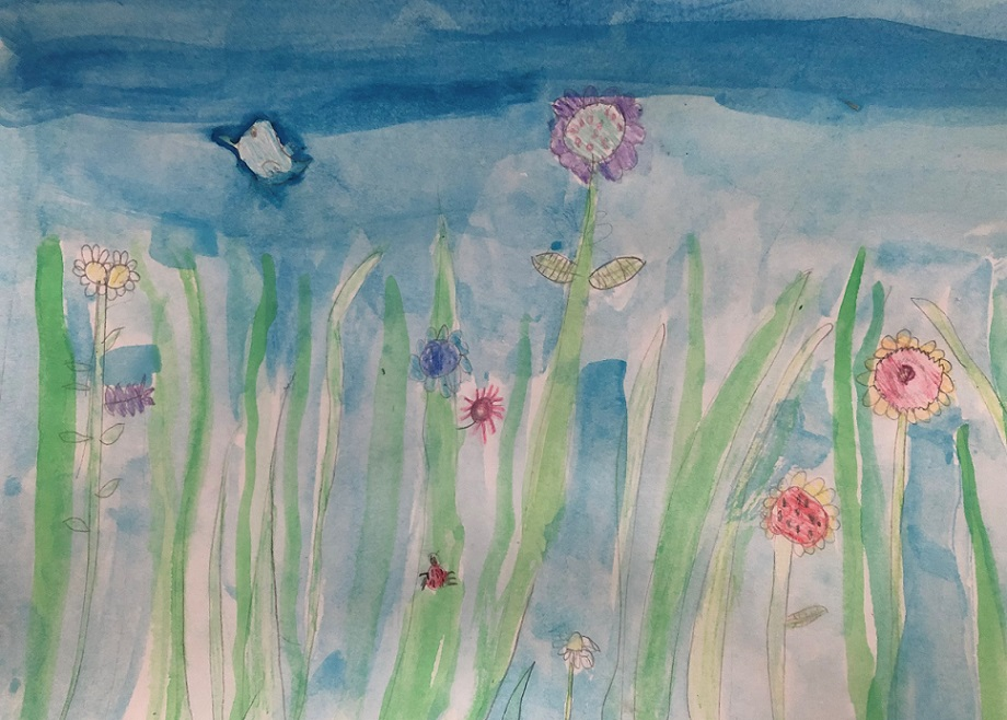 Watercolours on the paper (Aubrea 7 years old)