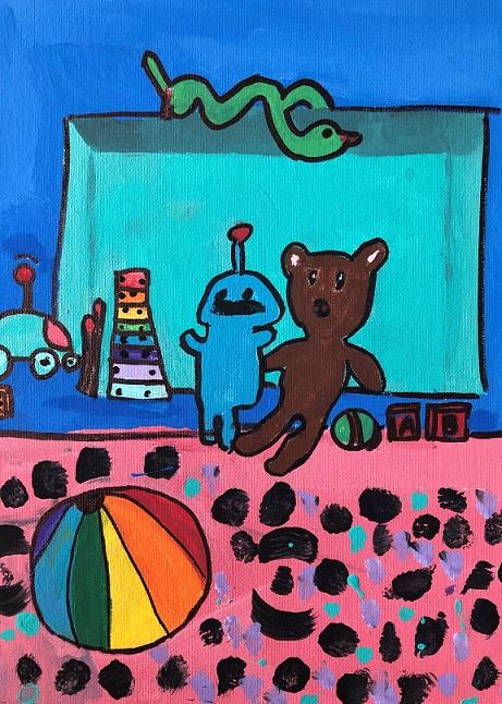 Acrylic paint on canvas (Aubrea 7 years old)